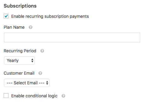 Recurring subscription settings in WPForms Stripe addon