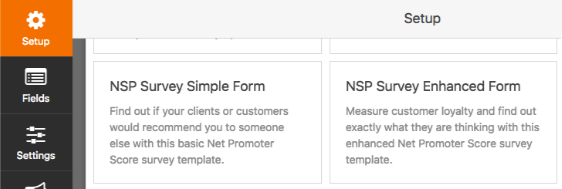 Select a Net Promoter Score template in WPForms