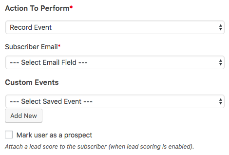 Set up a Record Action event in WPForms Drip addon