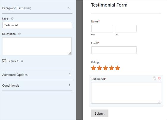 Testimonial Form Field