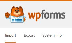 Tools menu in WPForms