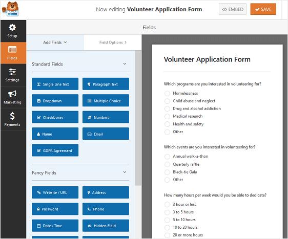Volunteer Application Form