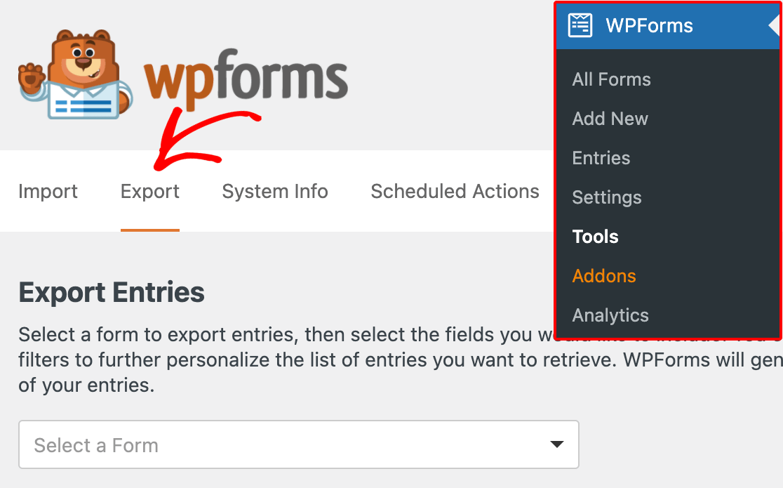 Accessing the WPForms Export tools