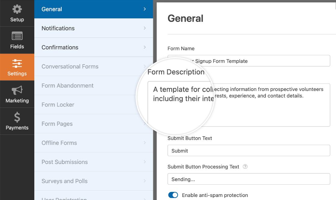 Customizing the description for a custom template form
