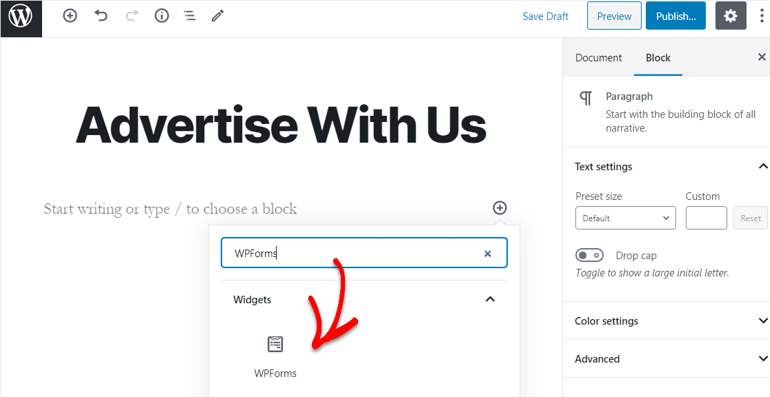 advertise with us form in wpforms widget