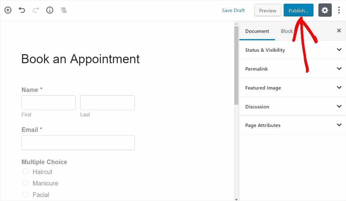 appointment form integrates with google calendar