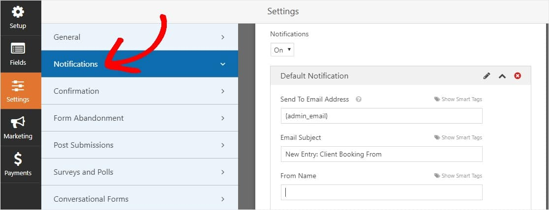 booking enquiry form template notifications