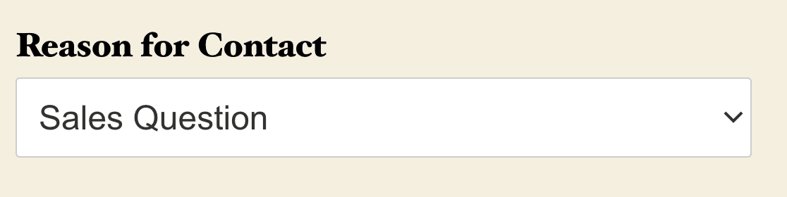 A Classic Dropdown field without placeholder text.