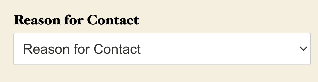 A Classic Dropdown field with placeholder text.