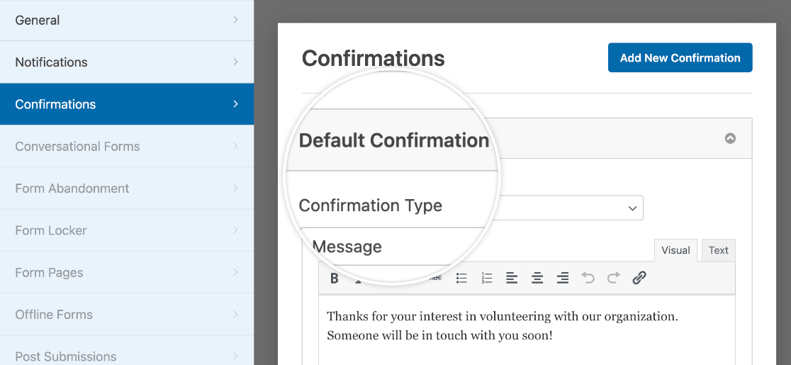 Customizing the default confirmation for a new custom template