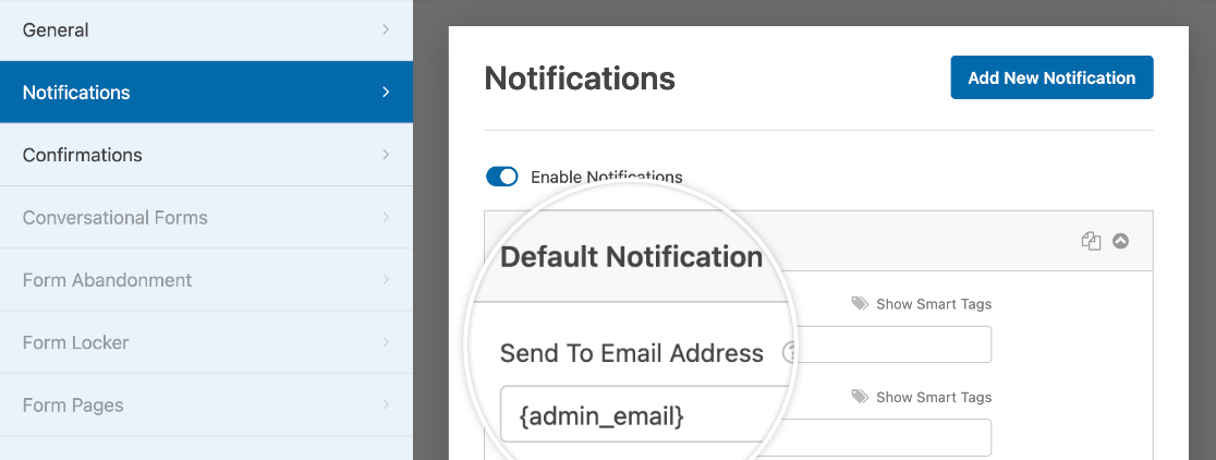 Customizing the default notification for a custom template