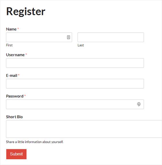 final user registration form on website
