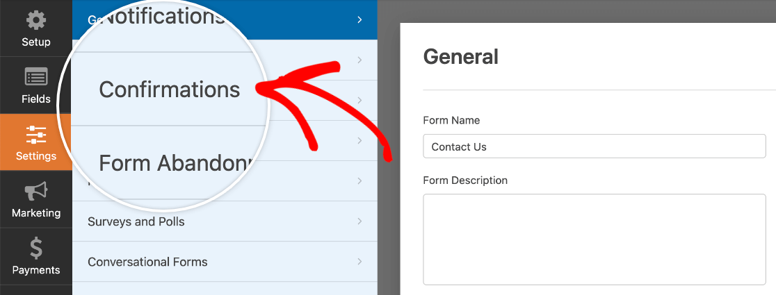 Accessing the form builder confirmation settings