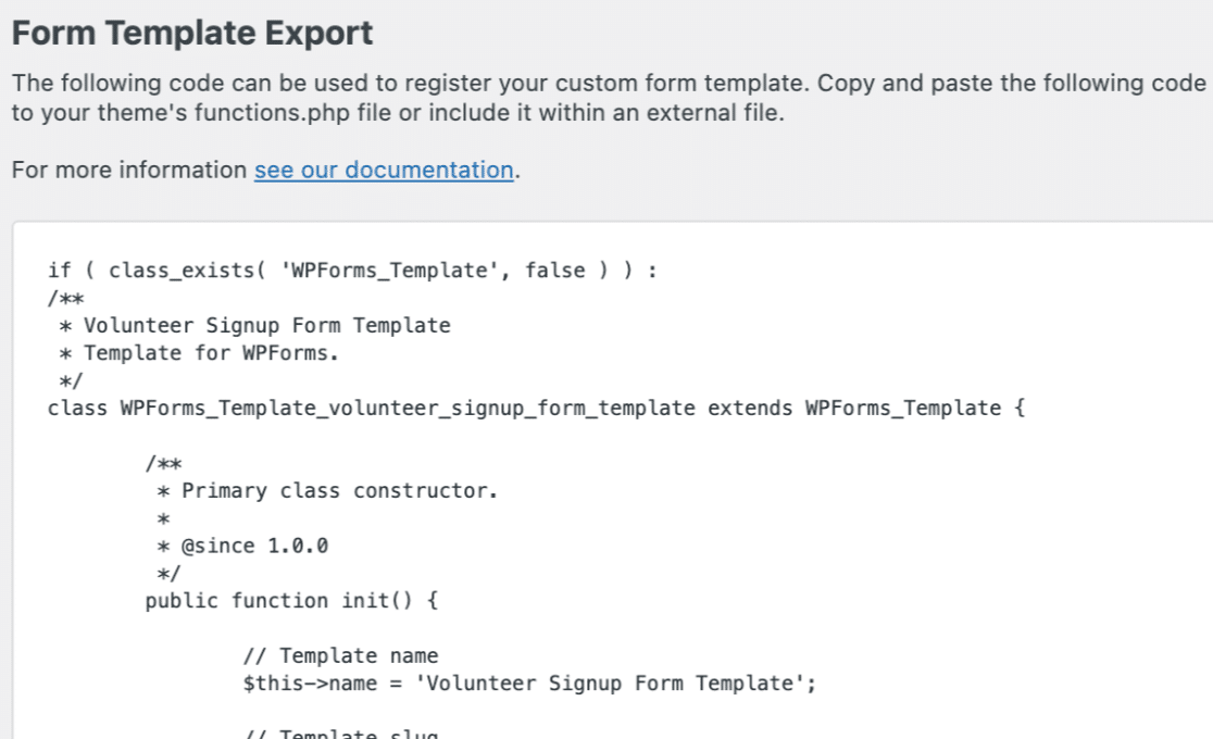 The export code for a custom template