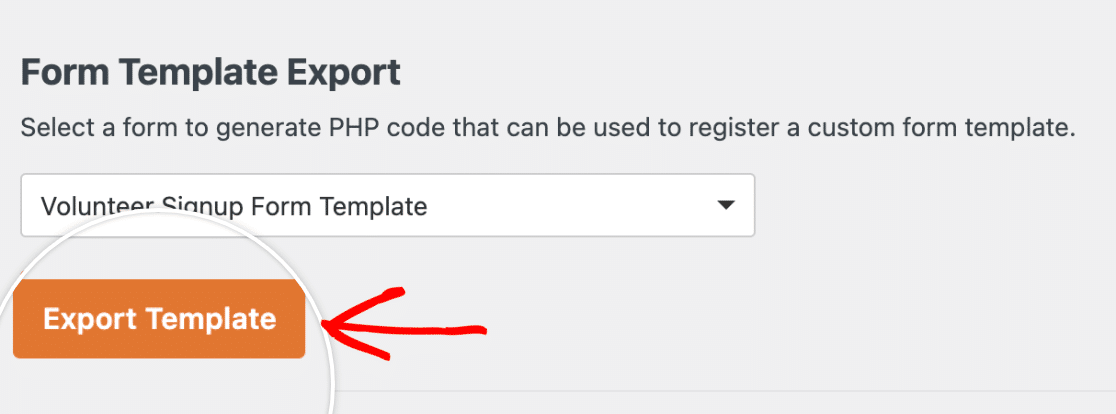 Exporting a custom form template