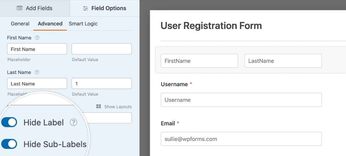 Hiding a Name field's label and sub-labels