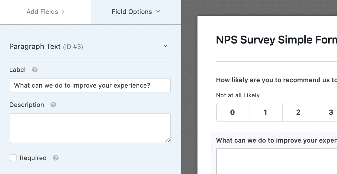 Labeling a paragraph text field