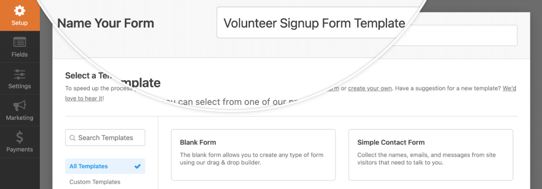 Naming a new form to use as a template