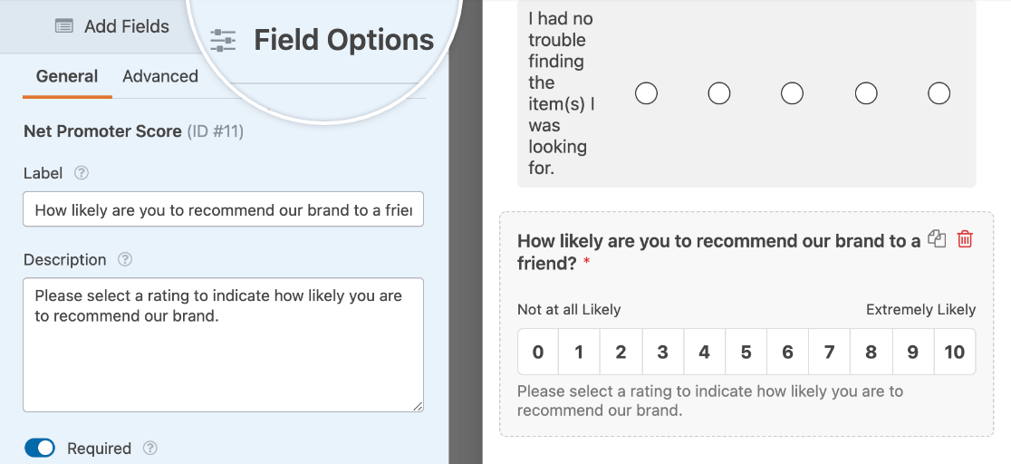 Editing the field options for a Net Promoter Score field