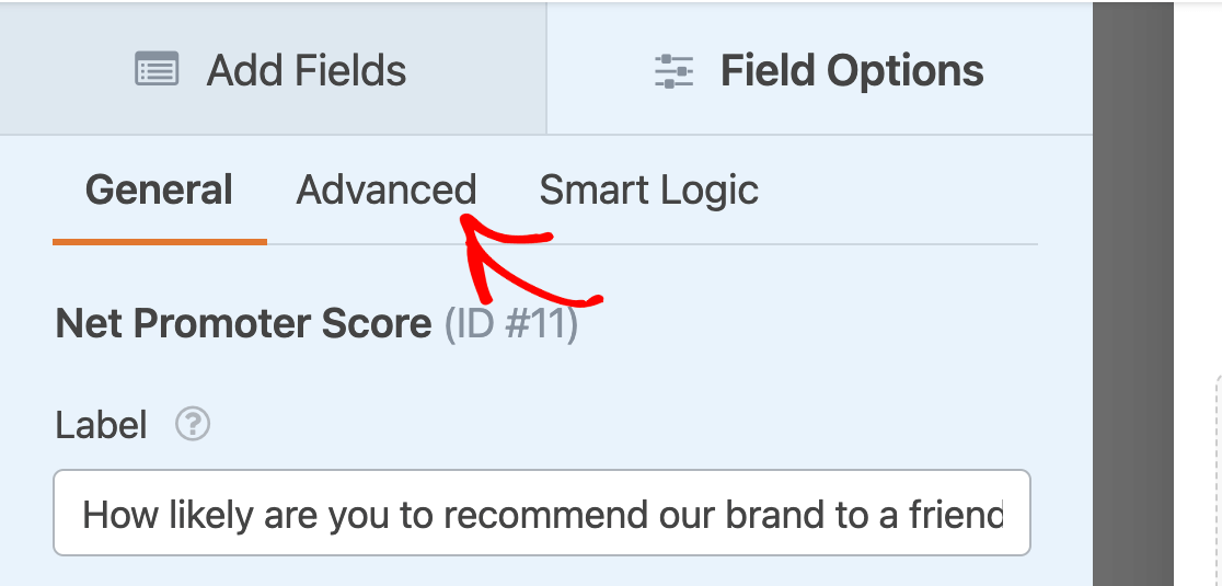 Opening the advanced field options for a NPS field