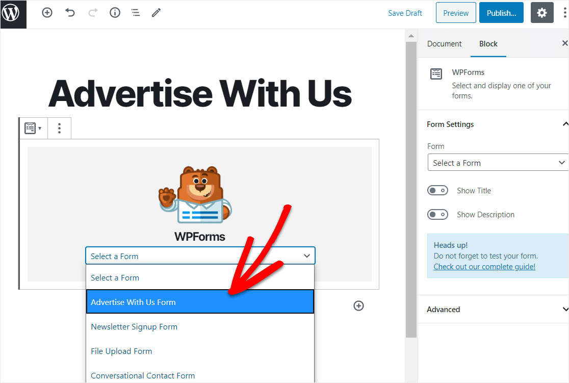 pick advertise with us form