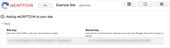 reCAPTCHA Keys