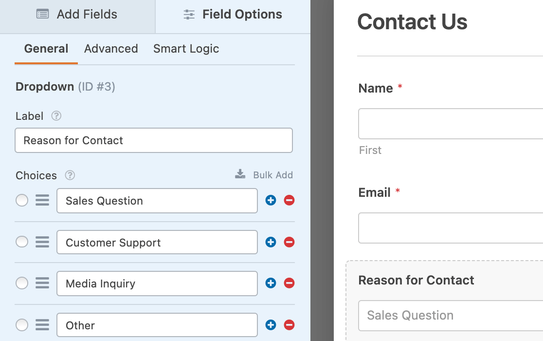 """A Dropdown field labeled """"Reason for Contact"""""""