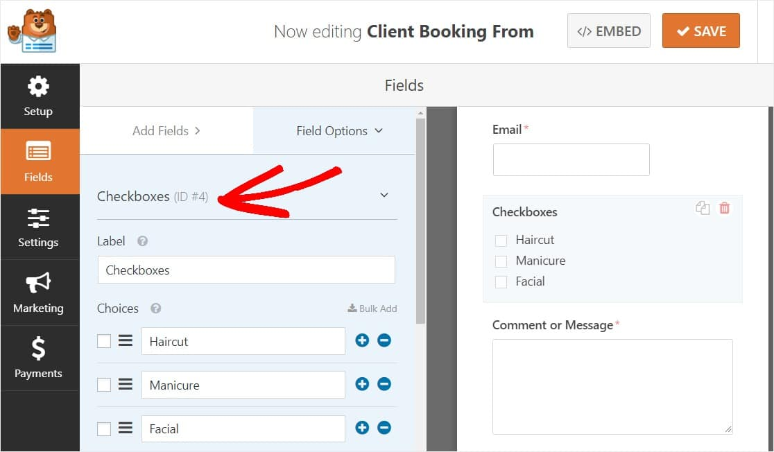 simple booking form template checkboxes