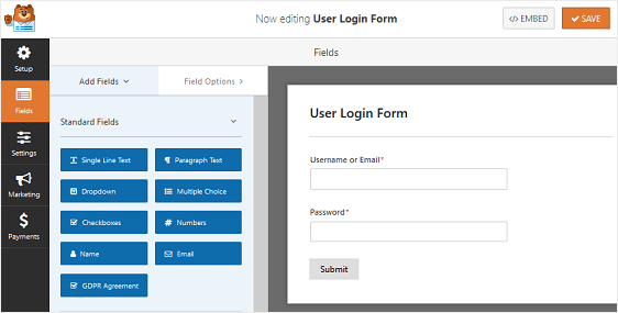 user login form example