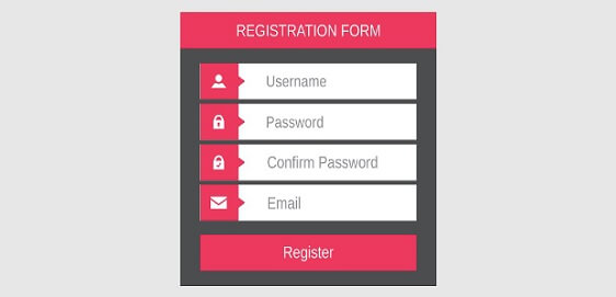 user registration form.