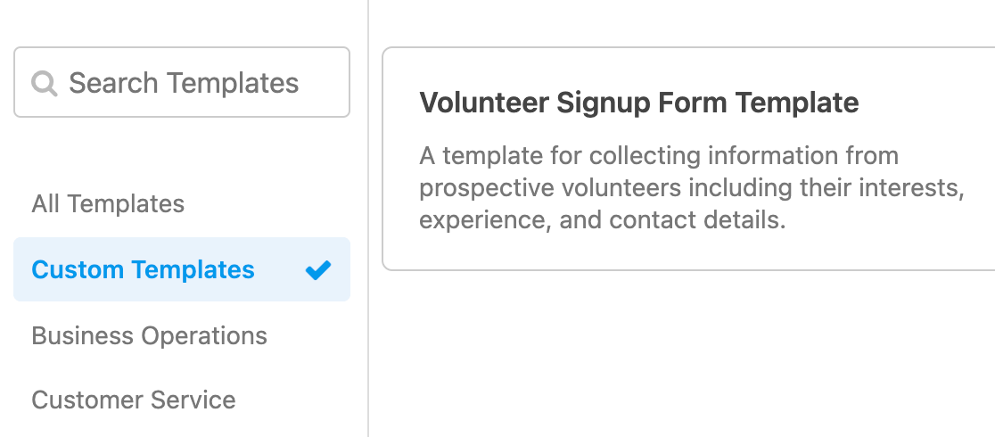 Using your custom form template