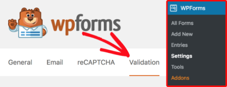 Validation settings