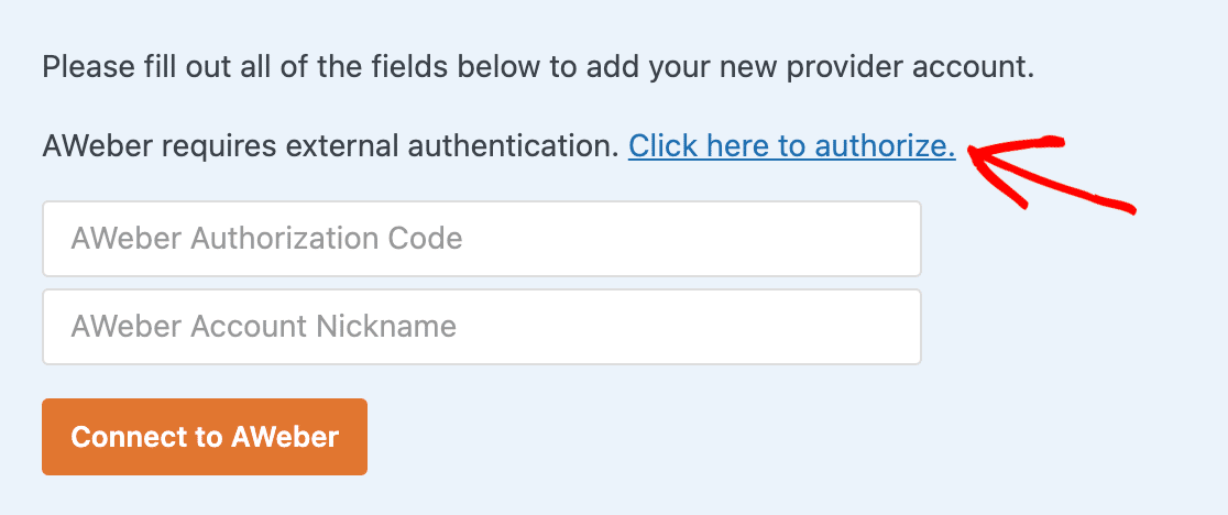 Click to authorize link for AWeber in WPForms