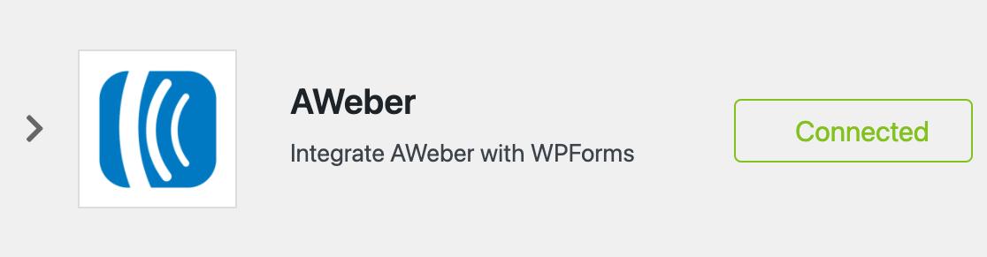 AWeber WPForms connection confirmation