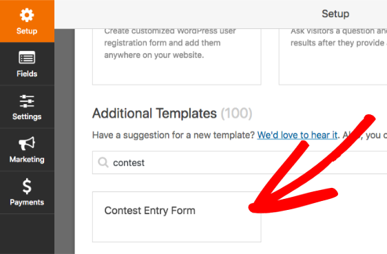 Choose contest form template in WPForms