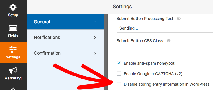 Disable storing entries for a form in WPForms
