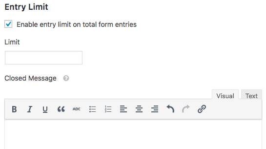 Entry Limit settings in WPForms Form Locker addon