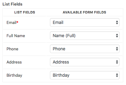Example of custom fields added in AWeber list