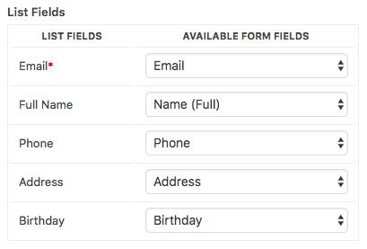 Example of custom fields added in AWeber list