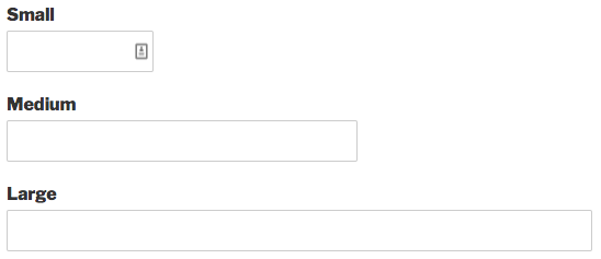 Example of small medium and large field sizes in WPForms
