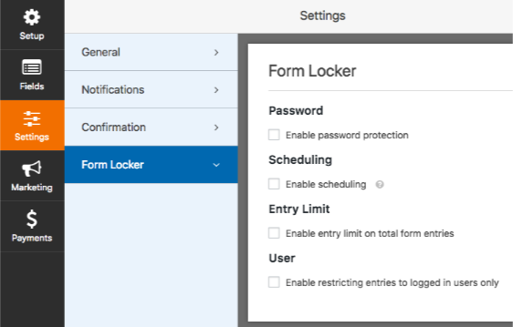Form Locker addon settings in WPForms