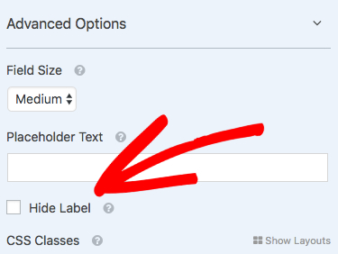 Hide label for a field in WPForms