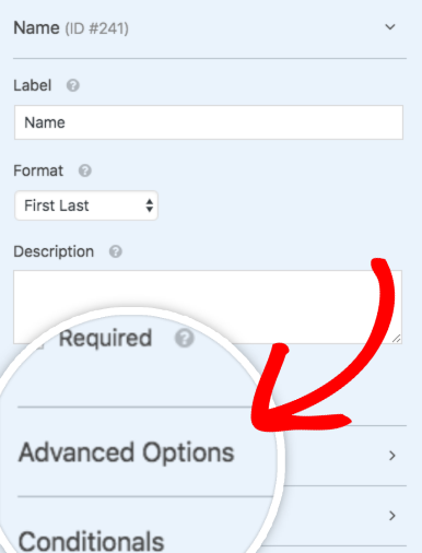 Open the Advanced Options section for a field