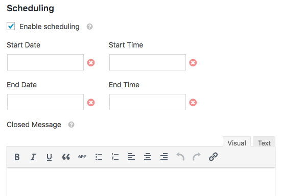 Scheduling settings in WPForms Form Locker addon