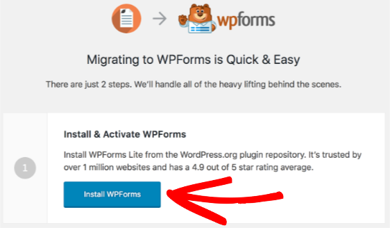 Use WPForms migration tool to install WPForms Lite