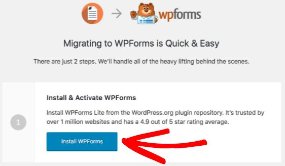 Use WPForms migration tool to install WPForms Lite