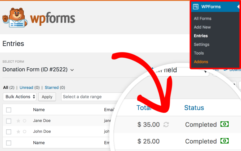 WPForms entries overview page for Stripe payments