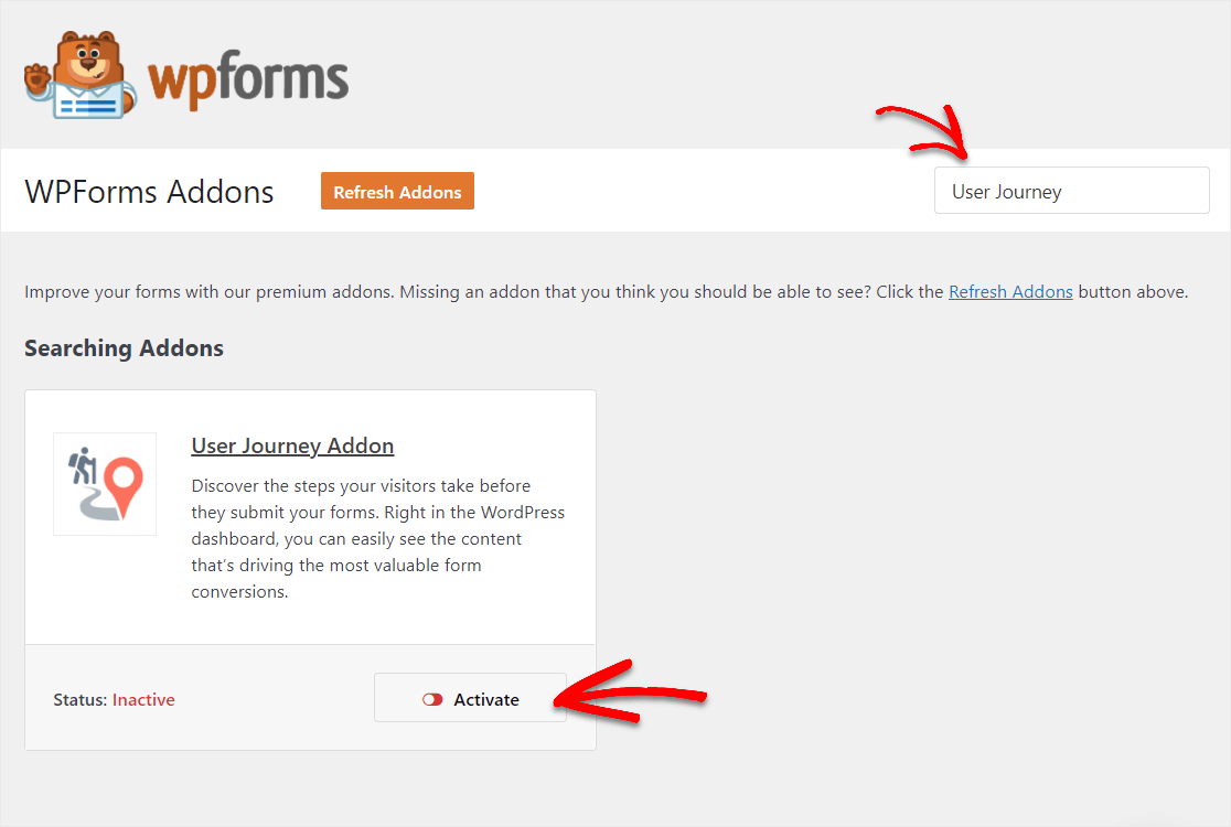 activate the user journey addon wpforms to track website traffic wordpress