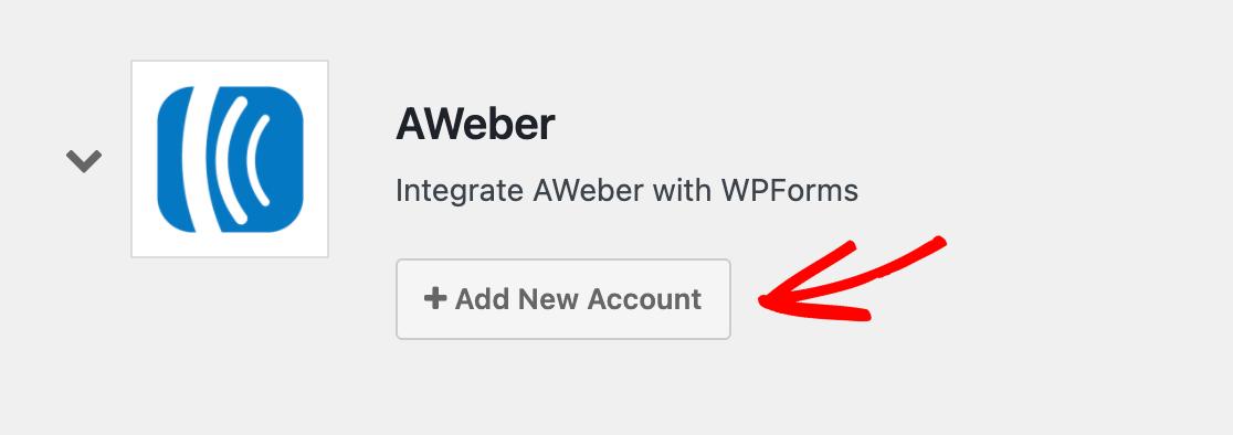 Adding a new AWeber account integration to WPForms