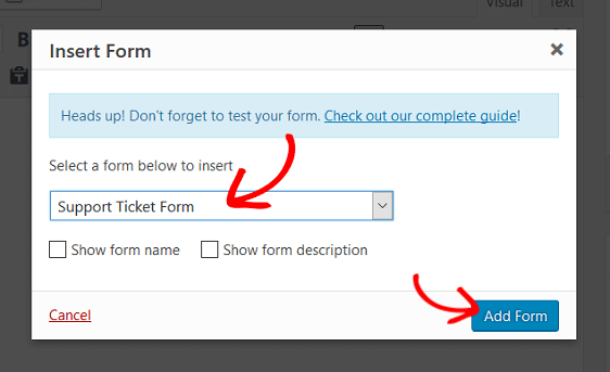 add support ticket form